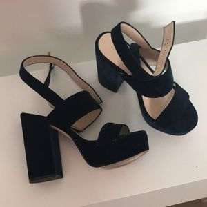 Nine West Shoes - Nine West Kelso Navy Suede Strappy Heels